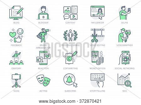 Blogger Line Icons. Vector Illustration Included Icon As Blog Monetization, Video Editing, Personal