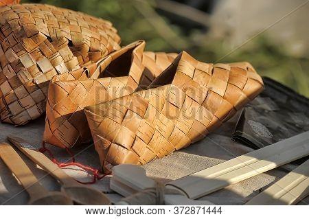 Bast Shoes Hanging At Russian Souvenir Market
