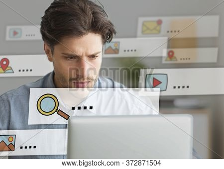 Online Search Concept. Man Using Laptop Browsing Internet Working Sitting In Office. Collage
