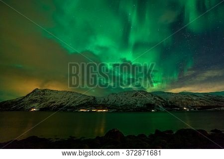 Aurora Borealis, Northern Lights, Northern Lights, Over Fjord Mountains With Many Clouds And Stars I