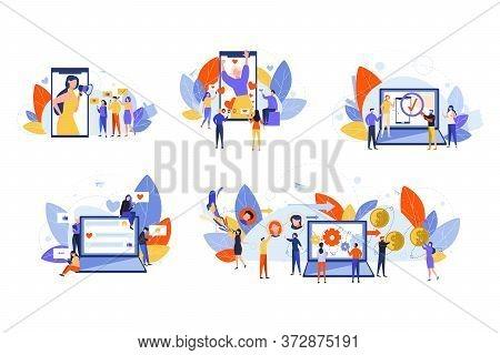 Social Media, Marketing, Monetization, Promotion, Content Set Concept. People Men And Women Influenc