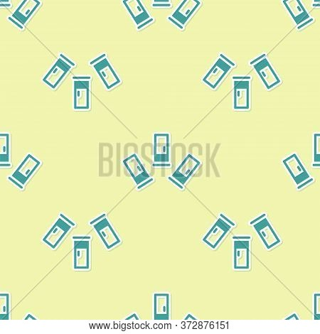 Green Cartridges Icon Isolated Seamless Pattern On Yellow Background. Shotgun Hunting Firearms Cartr