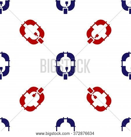 Blue And Red Inflatable Boat Icon Isolated Seamless Pattern On White Background. Rafting Boat. Water
