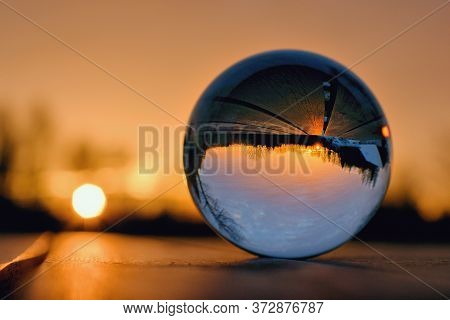 Lens Ball Creative Photography, Landscape And Sunset Reflection