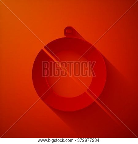 Paper Cut Lifebuoy Icon Isolated On Red Background. Lifebelt Symbol. Paper Art Style. Vector