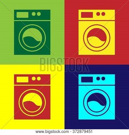 Pop Art Washer Icon Isolated On Color Background. Washing Machine Icon. Clothes Washer - Laundry Mac