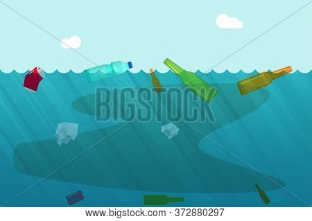 Water Pollution Concept With Garbage Trash Floating On Ocean Or Dirty Sea As Environmental Problem V