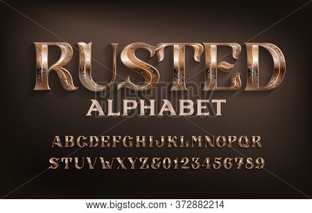Rusted Alphabet Font. Ancient Scratched Metal Letters And Numbers. Stock Vector Typescript For Your