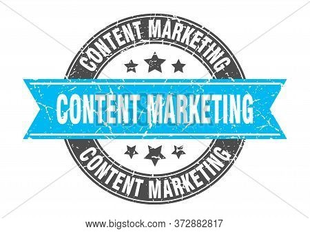 Content Marketing Round Stamp With Turquoise Ribbon. Content Marketing