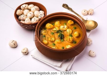 Lotus Seeds Peas Curry Or Phool Makhana Masala Sabzi.