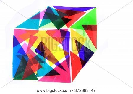 Cube From Abstract Color Triangles Isolated On White Background