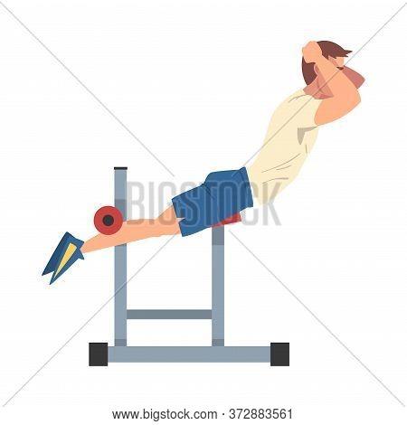 Man Training On Abdominal Crunch Bench Vector Illustration