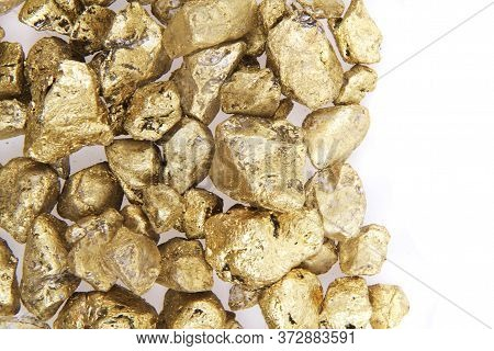 Golden Nuggets Isolated On The White Background