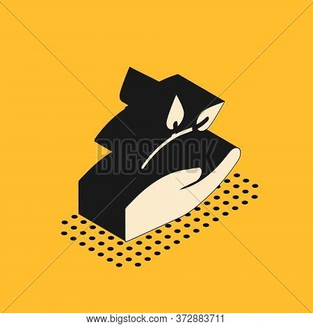 Isometric Leaf In Hand Of Environmental Protection Icon Isolated On Yellow Background. Seed And Seed