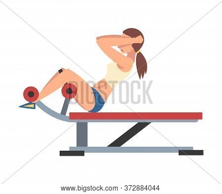 Woman Training On Abdominal Crunch Bench Vector Illustration