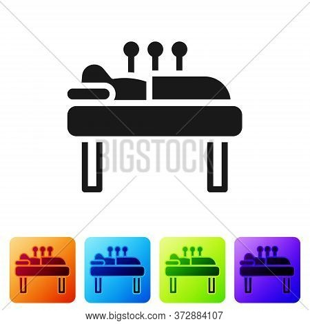 Black Acupuncture Therapy Icon Isolated On White Background. Chinese Medicine. Holistic Pain Managem