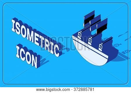 Isometric Soup With Shrimps Icon Isolated On Blue Background. Tom Yum Kung Soup. Vector.