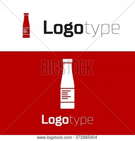 Red Sauce Bottle Icon Isolated On White Background. Ketchup, Mustard And Mayonnaise Bottles With Sau