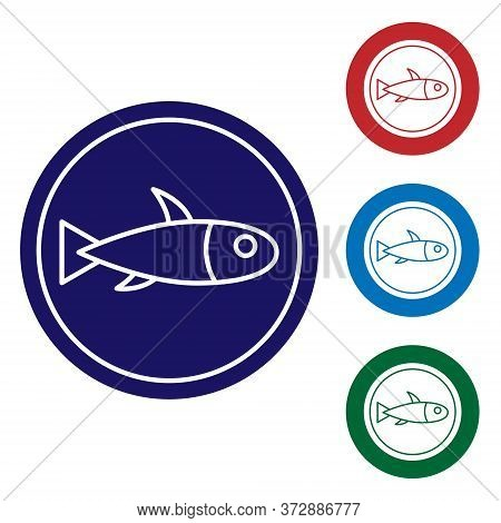 Blue Served Fish On A Plate Icon Isolated On White Background. Set Icons In Color Square Buttons. Ve