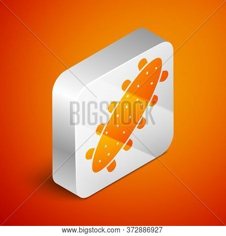 Isometric Sea Cucumber Icon Isolated On Orange Background. Marine Food. Silver Square Button. Vector