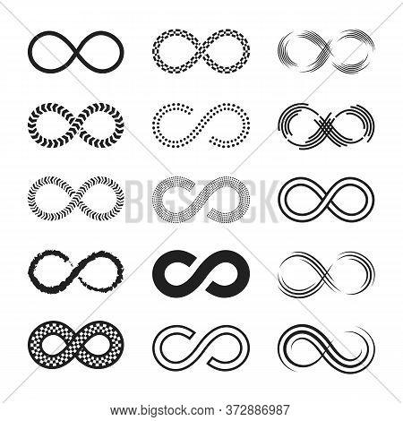Infinity Signs Set. Endless Eternity Symbols, Black Eight Geometric Shapes Isolated On White Backgro