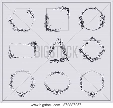 Frames With Branches And Flowers Set. Sketches Of Elegant Borders With Blossoms, Floral Laurel Wreat