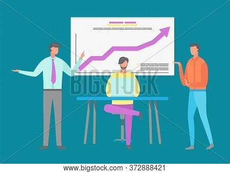 Conference Of Employees Vector, Infochart With Visualized Information. Man Boss Explaining Info To W