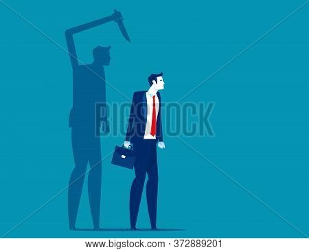 Businessman Being Stabbed In The Back. Silhouette Vector Illustration Design