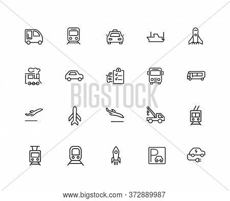 Transport Icons. Set Of Twenty Line Icons. Train, Airplane, Taxi. Vehicle Icon Set. Illustration Can