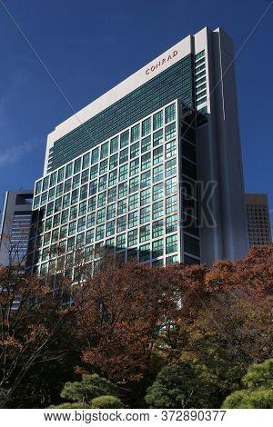 Tokyo, Japan - December 2, 2016: Hotel Conrad Skyscraper In Tokyo, Japan. It Is One Of Top 10 Best R