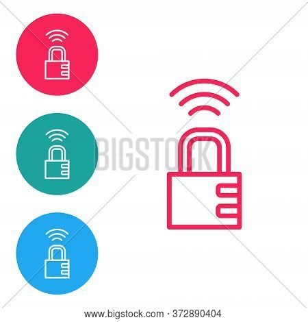 Red Line Smart Safe Combination Lock Icon Isolated On White Background. Combination Padlock. Securit
