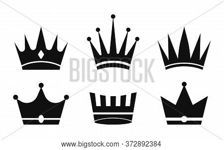Crown Icon. Silhouette Of Crowns Queens, Kings. Set Of Symbol For Princess, Prince. Royal Luxury Des