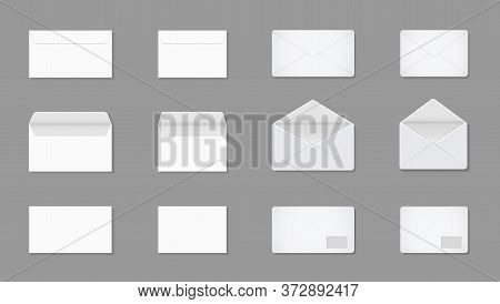 White Letter In Envelop. Blank Mockup Of A4, A5, C5 For Post. Open And Closed Paper Card For Mail. E