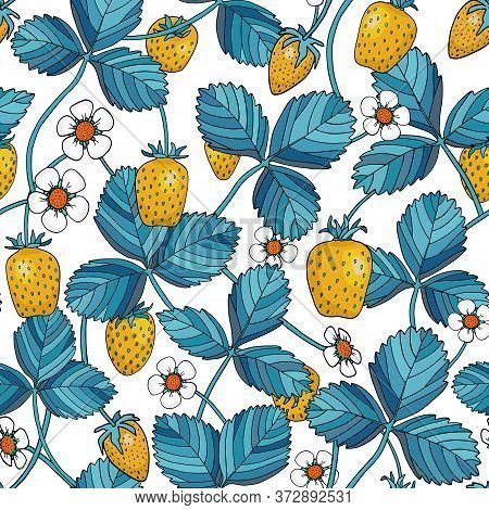 Strawberry With Blue Leaves Seamless Pattern. Yellow Berries, Strawberry Plants, Flowers Isolated On
