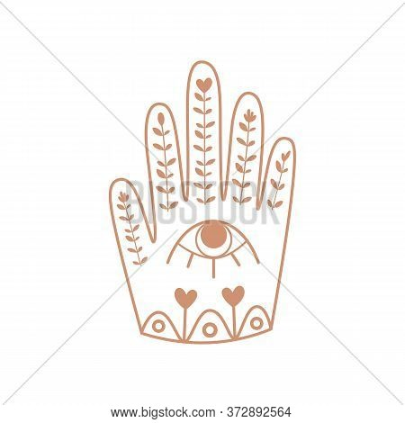Hamsa Hand With Eye. Boho Hand, Floral Ornrate Ethnic Elements, Good Fortune. Bohemian Sticker Vecto