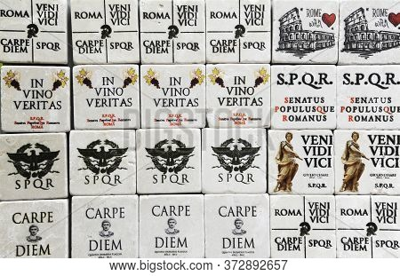 Famous Latin Phrases Used For Souvenirs In Rome (i Came, I Saw, I Conquered - Seize The Day). Rome,