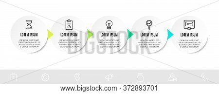 Infographic Circles With Five Steps, Arrows. Line Vector Template. Can Be Used For Diagram, Business