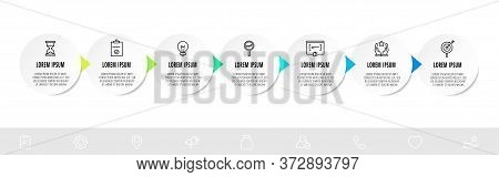 Infographic Circles With 7 Steps, Arrows. Line Vector Template. Can Be Used For Business, Web, Banne