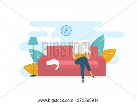 Breaking News Concept. Woman Reading Fresh Newspaper And Her Cat Napping On Sofa At Home, White Back