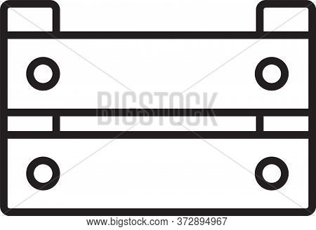 Black Line Wooden Box Icon Isolated On White Background. Grocery Basket, Storehouse Crate. Empty Woo