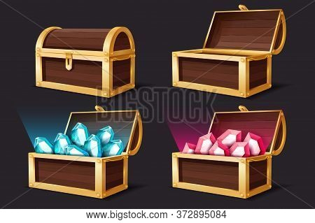 Treasure Chest. Closed And Open Gold Chests With Gems Jewelry. Medieval Mystery Pirate Treasures Rub