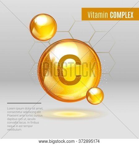 Vitamin C Gold Shining Pill Capsule Icon . Vitamin Complex With Chemical Formula, Ascorbic Acid. Shi