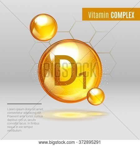 Vitamin D1 Gold Shining Pill Capsule Icon . Vitamin Complex With Chemical Formula, Group D, Cholecal