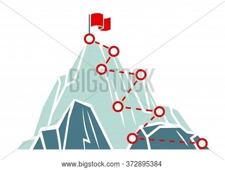 Mountain Climb Path. Business Success Concept. Climbing Route To Peak. Outdoor Activities Trekking O