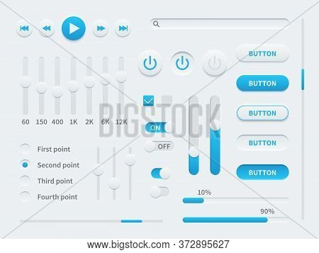 White Ui. User Interface Elements In Blue And White For Mobile App, Websites, Social Media Display B