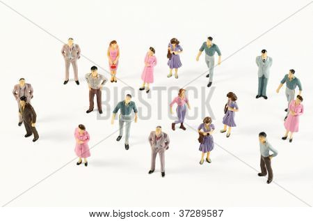 Toy, miniature figures of human in costumes, view from above