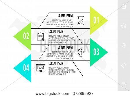 Infographics With 4 Elements With Arrows. Vector Concept Of Four Business Options To Choose From. Mo