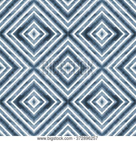 Watercolor Geometric Rhombus Squares Seamless Pattern. Indigo Blue Stripes On White Background. Wate