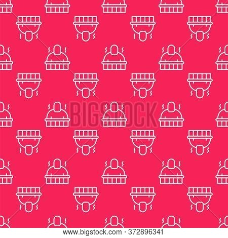 White Line Sauna And Spa Procedures Icon Isolated Seamless Pattern On Red Background. Relaxation Bod