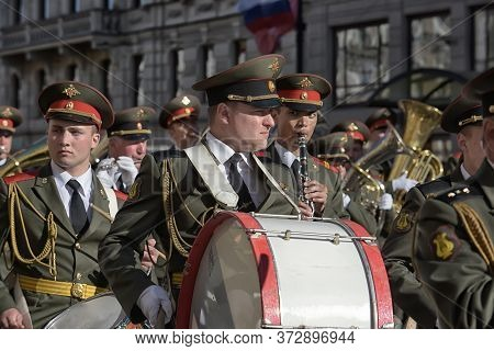 St. Petersburg, Russia 09,05,2015 The Military Band Marches On The Victory Parade